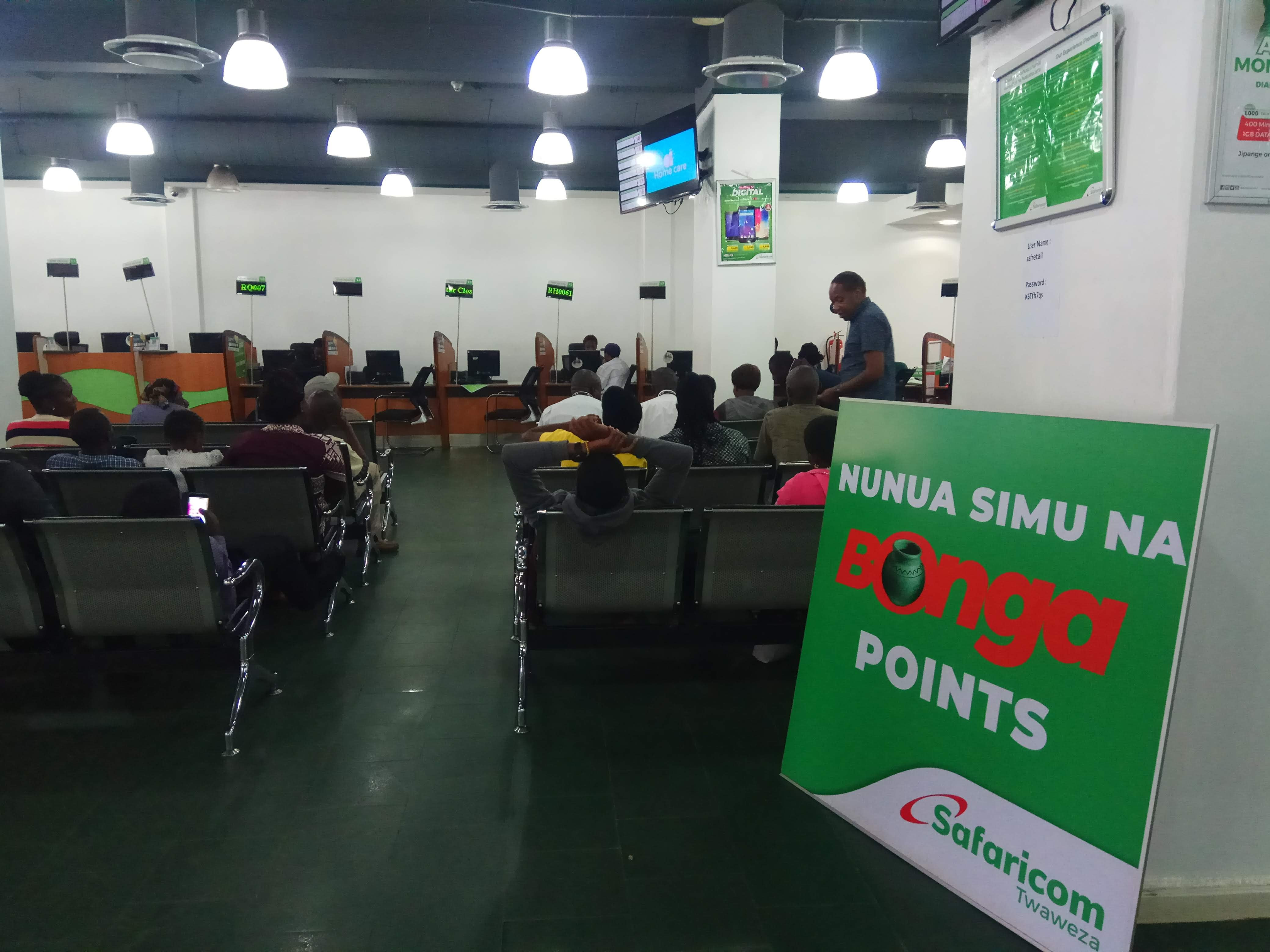 The waiting room at a communication company store in Nairobi