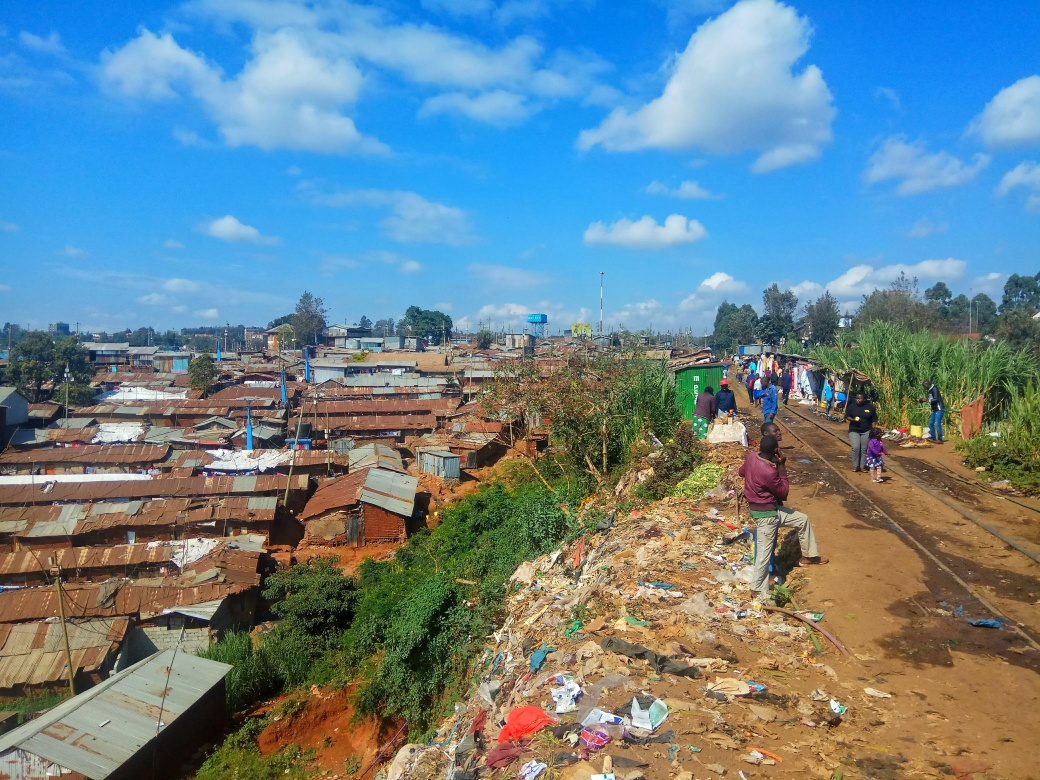 A view over part of Kibera slum from one of the main walkways into the slum