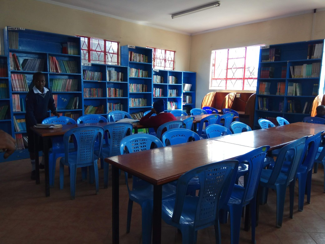 The library at one of the Community Centres at Kibera Slum