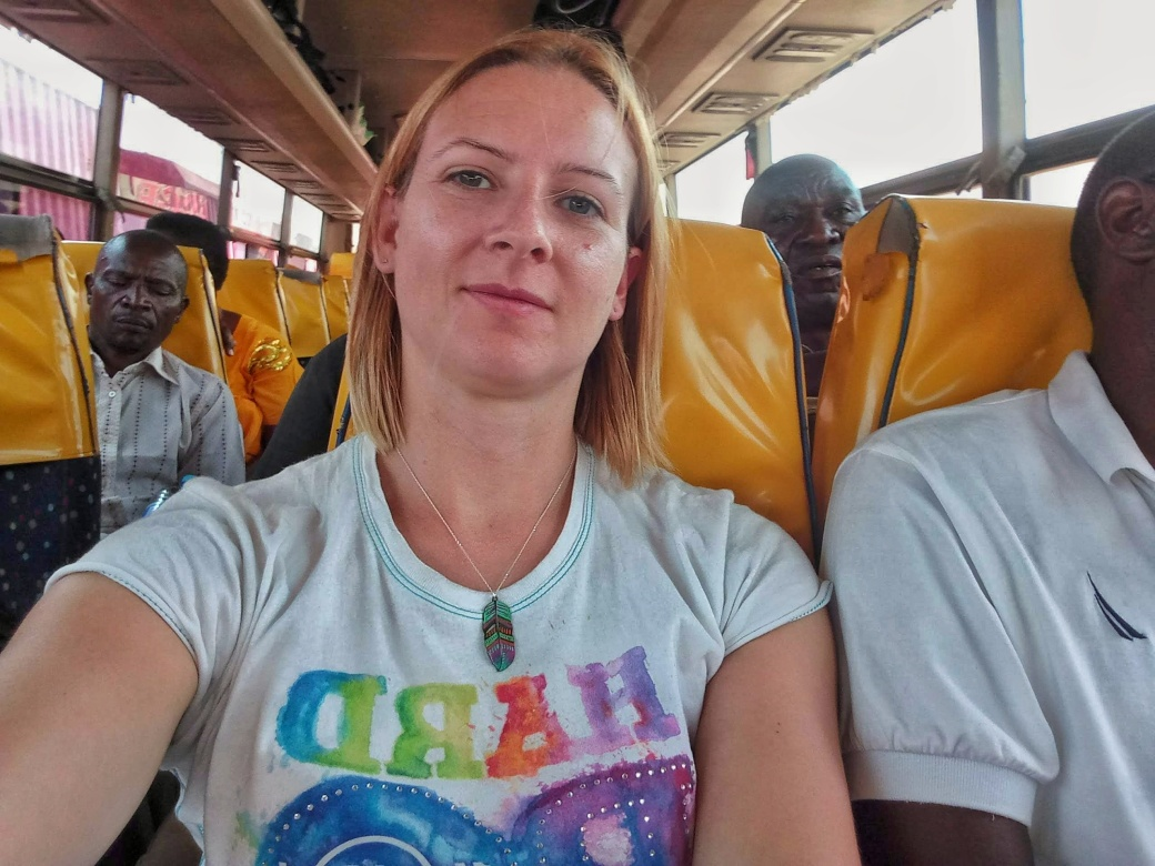Me on the bus in Tanzania