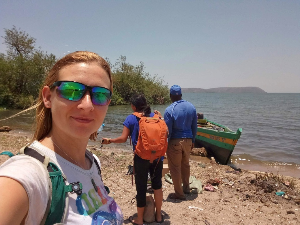 Jodie and I at the shore of Lake Victoria ready to head to the island