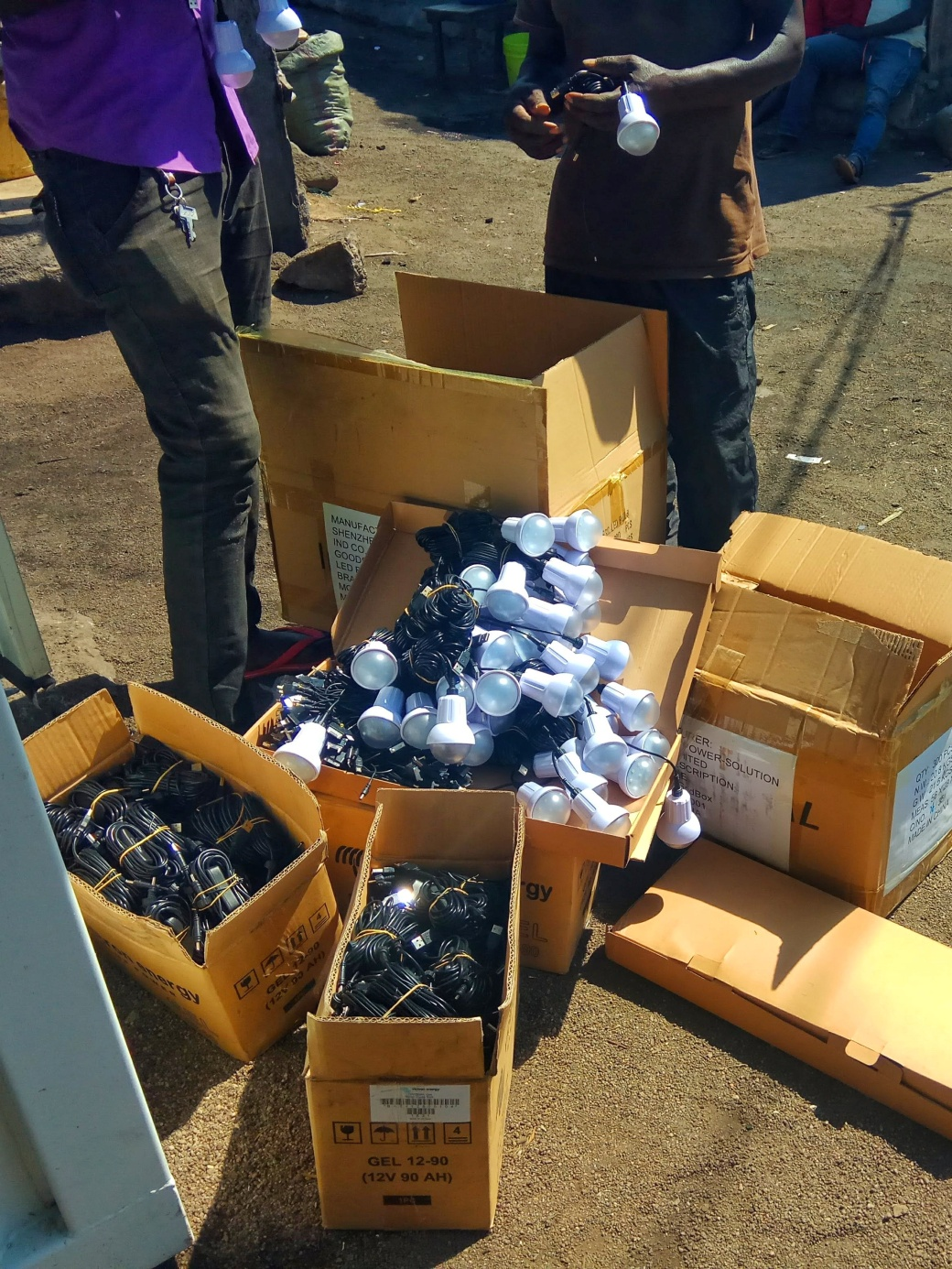 Bundles of lights and switches to distribute to the community