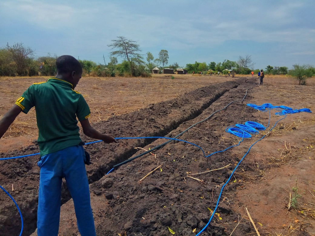 Local helper feeding a long length of blue cable into the protective pipe from neat piles