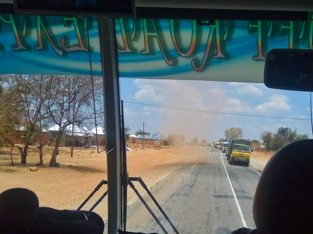 A dust devil on the road ahead